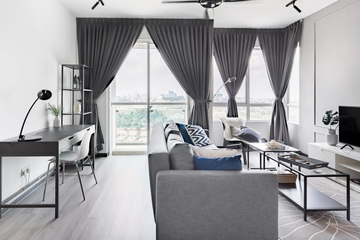 Artful Condo with a Pool Above an Upscale Shopping Mall