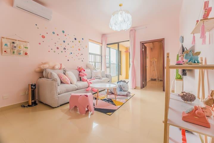 【梦旅】Room3,近商圈近长隆大客厅可爱三房,可洗衣做饭