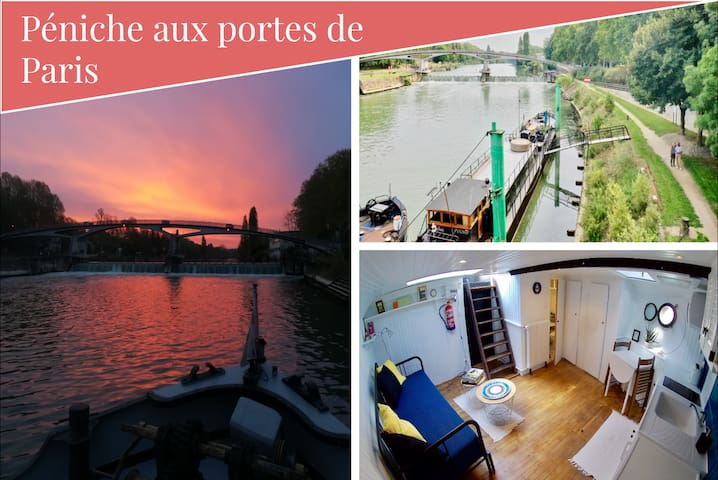 Charming flat on a boathouse close to subway