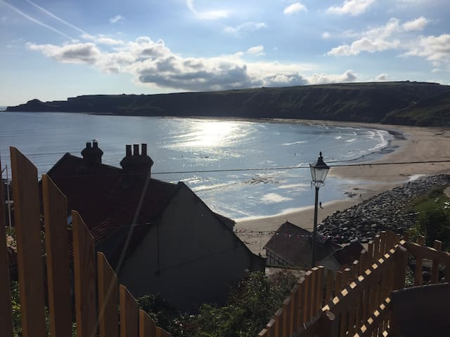 Our view of Runswick Bay!Kitchen/Diner+lounge+fire