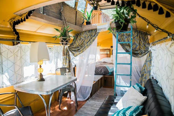 Birdsong Double Decker School Bus Summer retreat