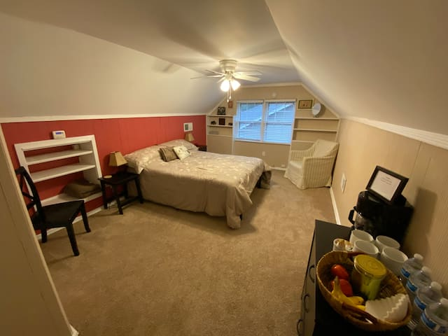Spacious, private attic bedroom and bathroom