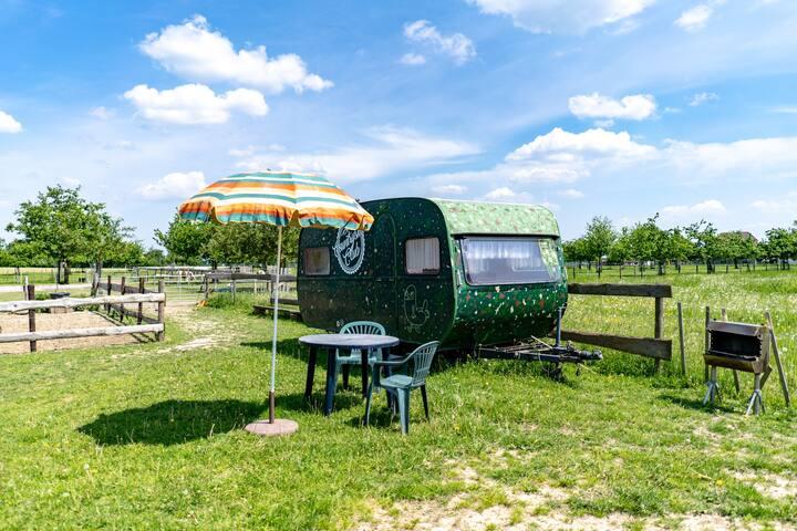 Alter Wohnwagen auf dem Bauernhof
