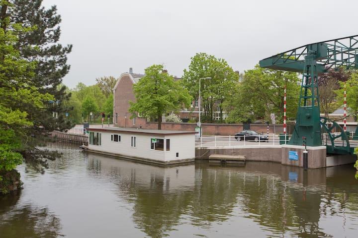 Modern boat house in Leiden center