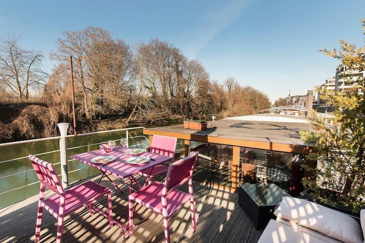 Nice house boat on the Seine River near Paris