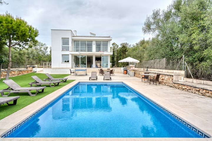Modern villa with pool and views