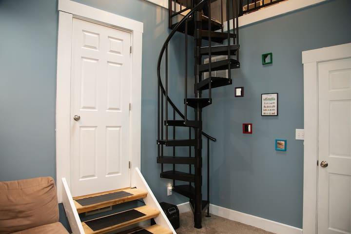 Broadripple studio loft with spiral staircase