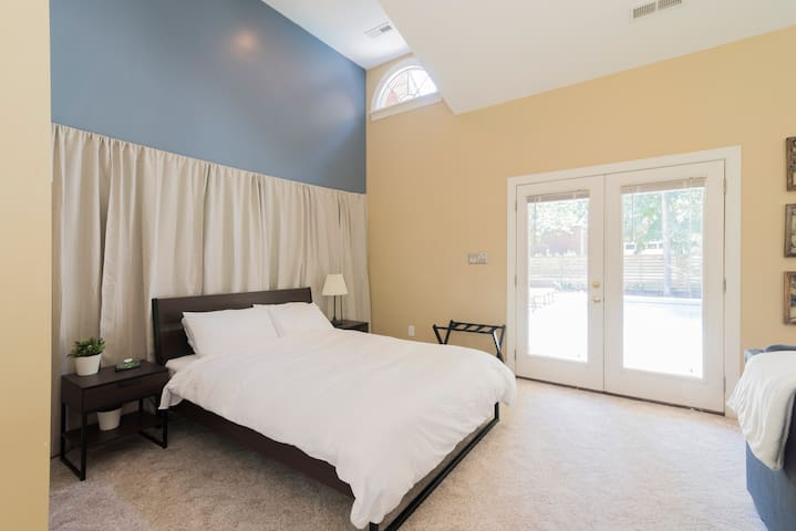 spacious private guest suite with pool