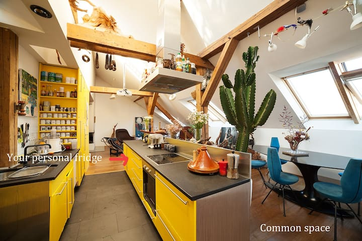 Small cocoon, rooftop and fireplace