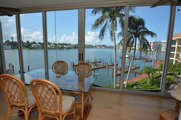 Naples waterfront unit overlooking Moorings Bay