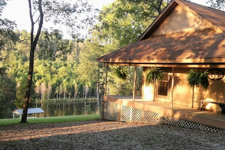 Cedar Chapel Cabin is remote and private w/a lake.