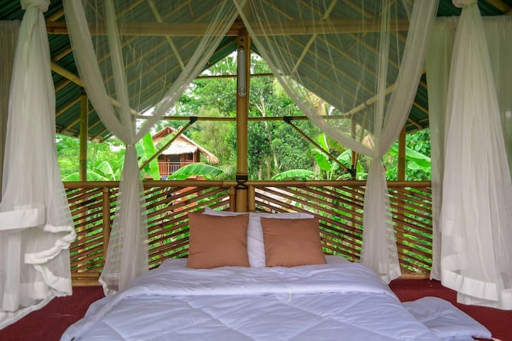 Bamboo room with a view in Permaculture Garden