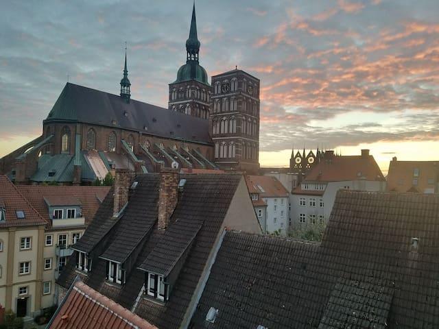 Old city/Altstadt Stralsund near Harbor/City Hall