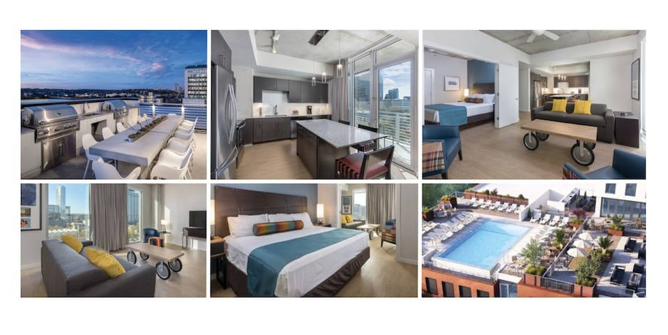 5★DOWNTOWN Condo~NO CLEAN FEE~Sleep 4~ROOFTOP POOL