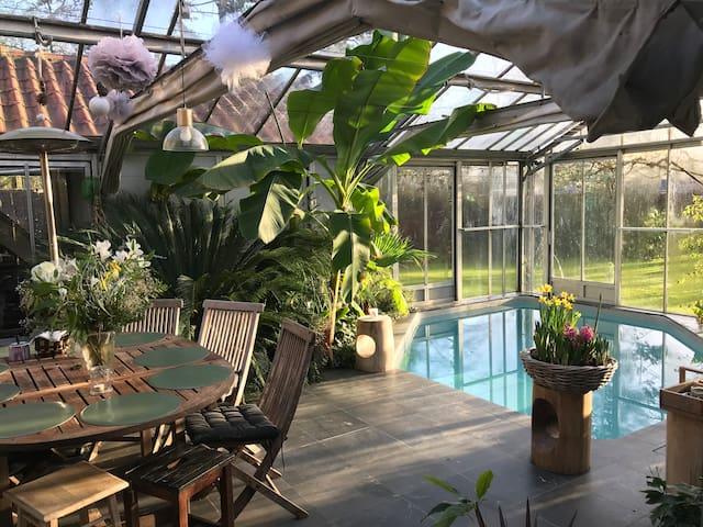 Chambre1 coloc jolie déco piscine 427€/mois, 31€/j