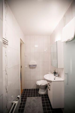 Ljus ny möblerad studio med balkong & nytt badrum