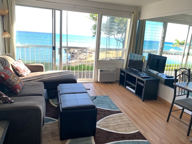 Beach front condo with endless ocean view.