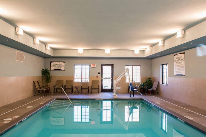 Indoor Pool. Free Breakfast. Business Center & Gym.