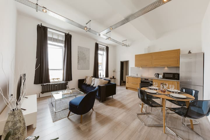 Cool warehouse conversion apartment in Chiswick