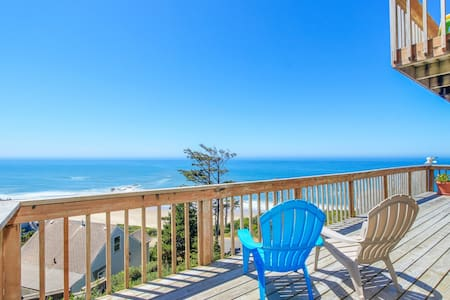 Admire the ocean from this elegant beach chateau on the Oregon coast!