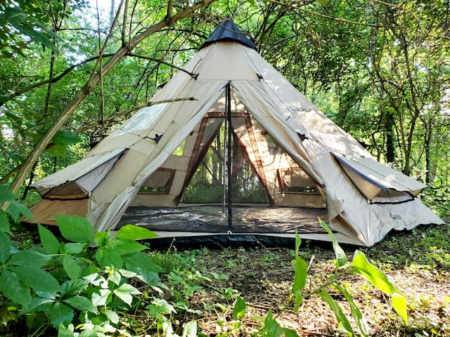 Private 18' Tipi in the woods with Shared Pool