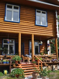 Log house in the centre of the town.
