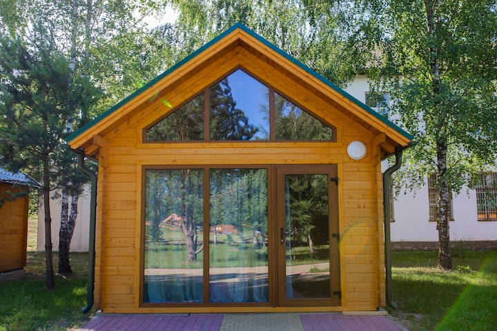 Wooden lodge in the adventure park