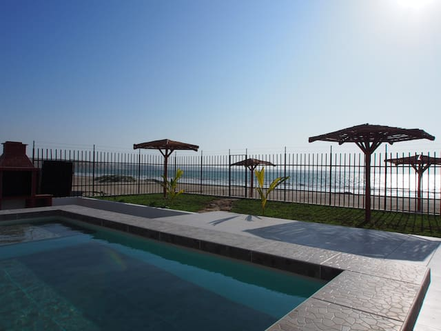 House#5 at beach Oceanfront condo +Pool+BBQ
