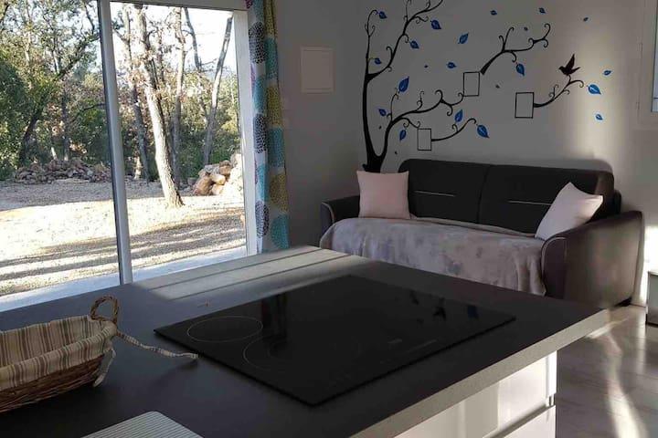 Studio neuf indépendant avec piscine cadre boisé