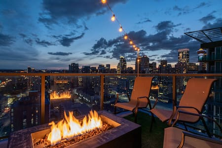 Fire table patio with city/mountain views!