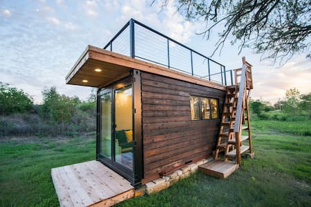 """Yellow & Blue"" Elegant Container Tiny House"