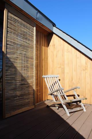 Espace 38m², 1 chambre, sdb, terrasse, Parking ext