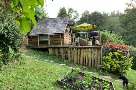 Wooden cabin - wood fired pizza oven and shower