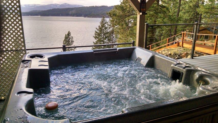 Scenic lakefront retreat w/ three decks, a hot tub & a private 48-foot dock!