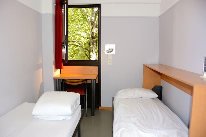 Chambre 2 lits douche (WC palier) privée