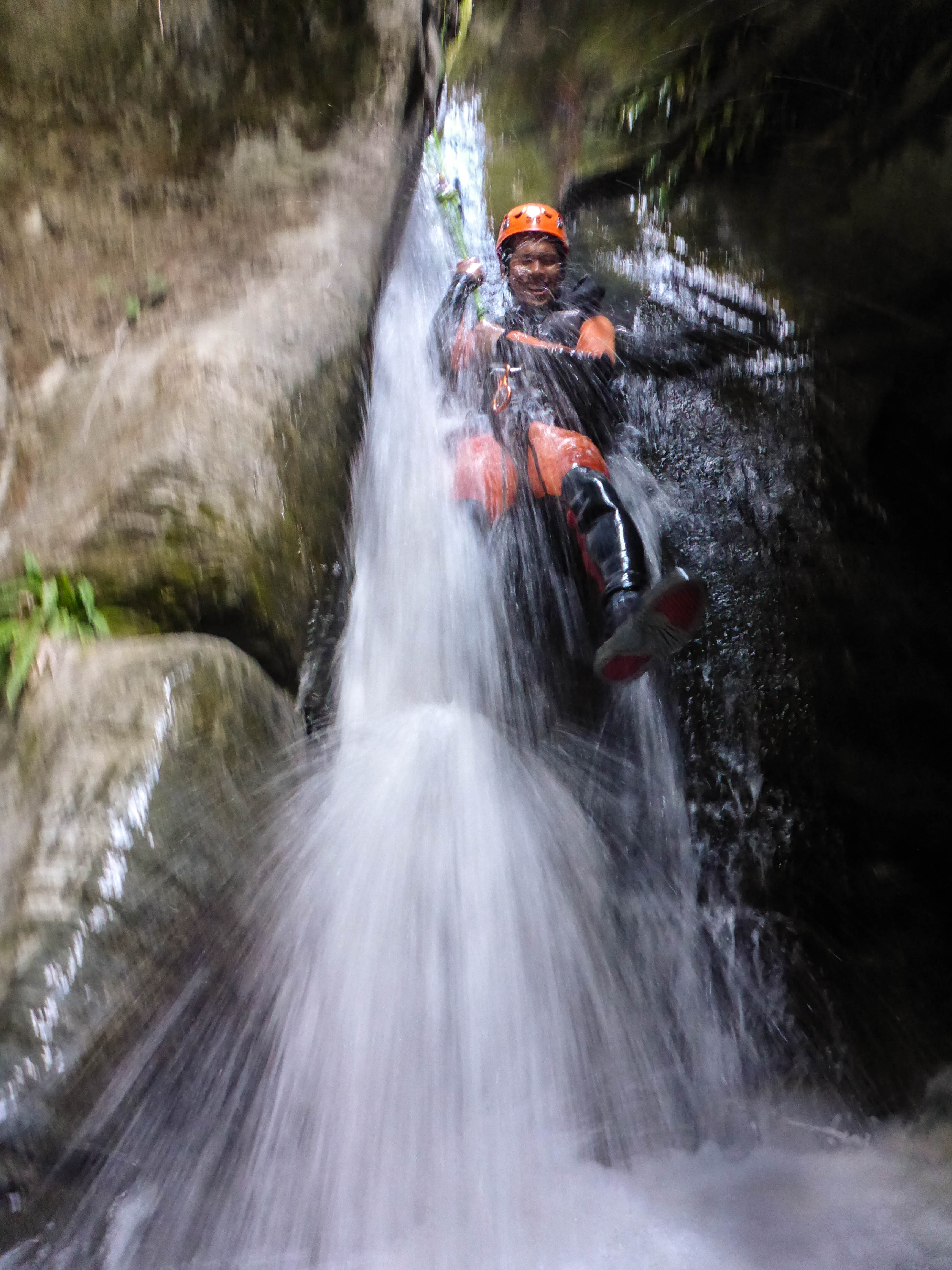 Sliding down the waterfall