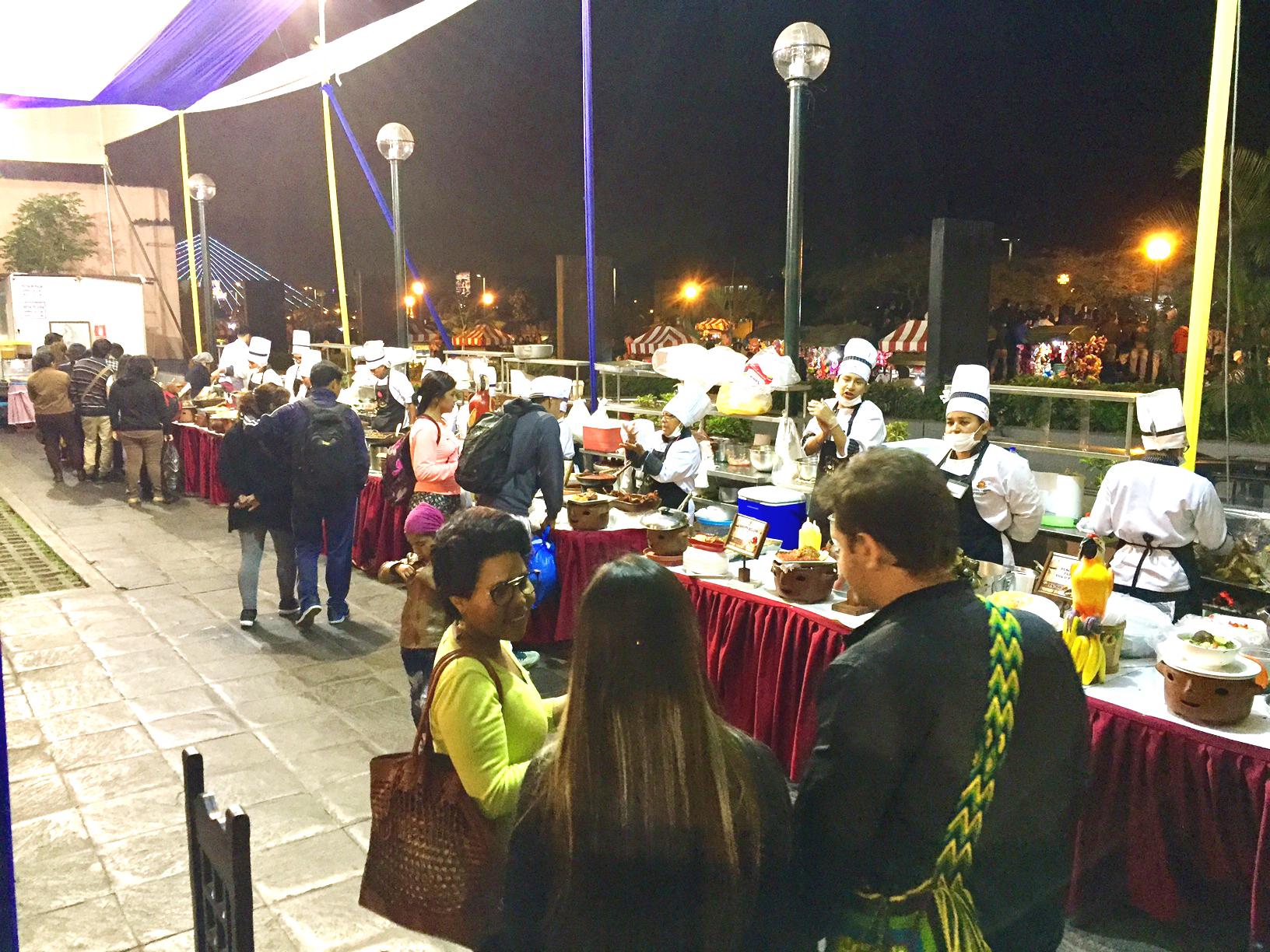 Sharing Peruvian food at  Festival