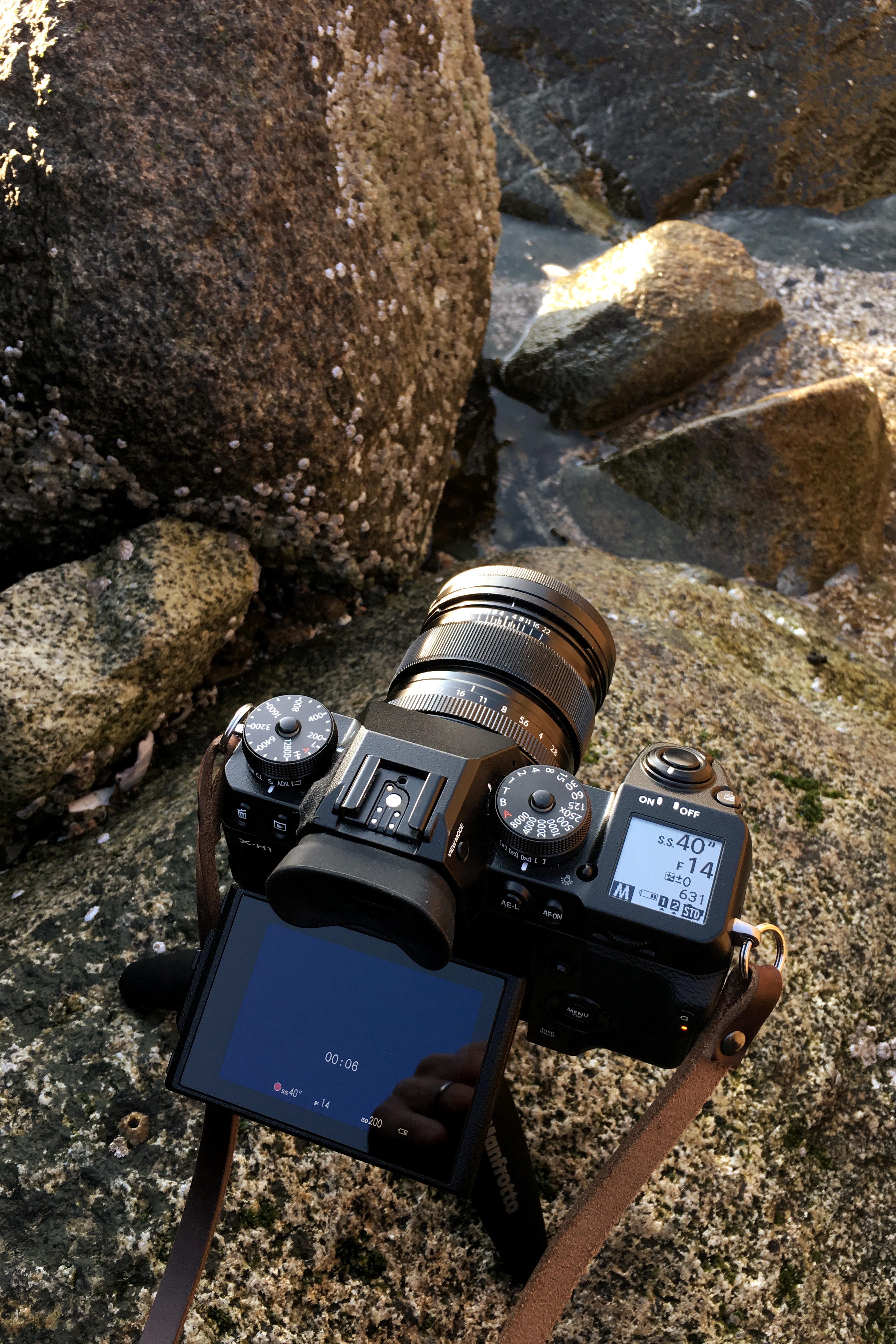 Set up for long exposure at English Bay