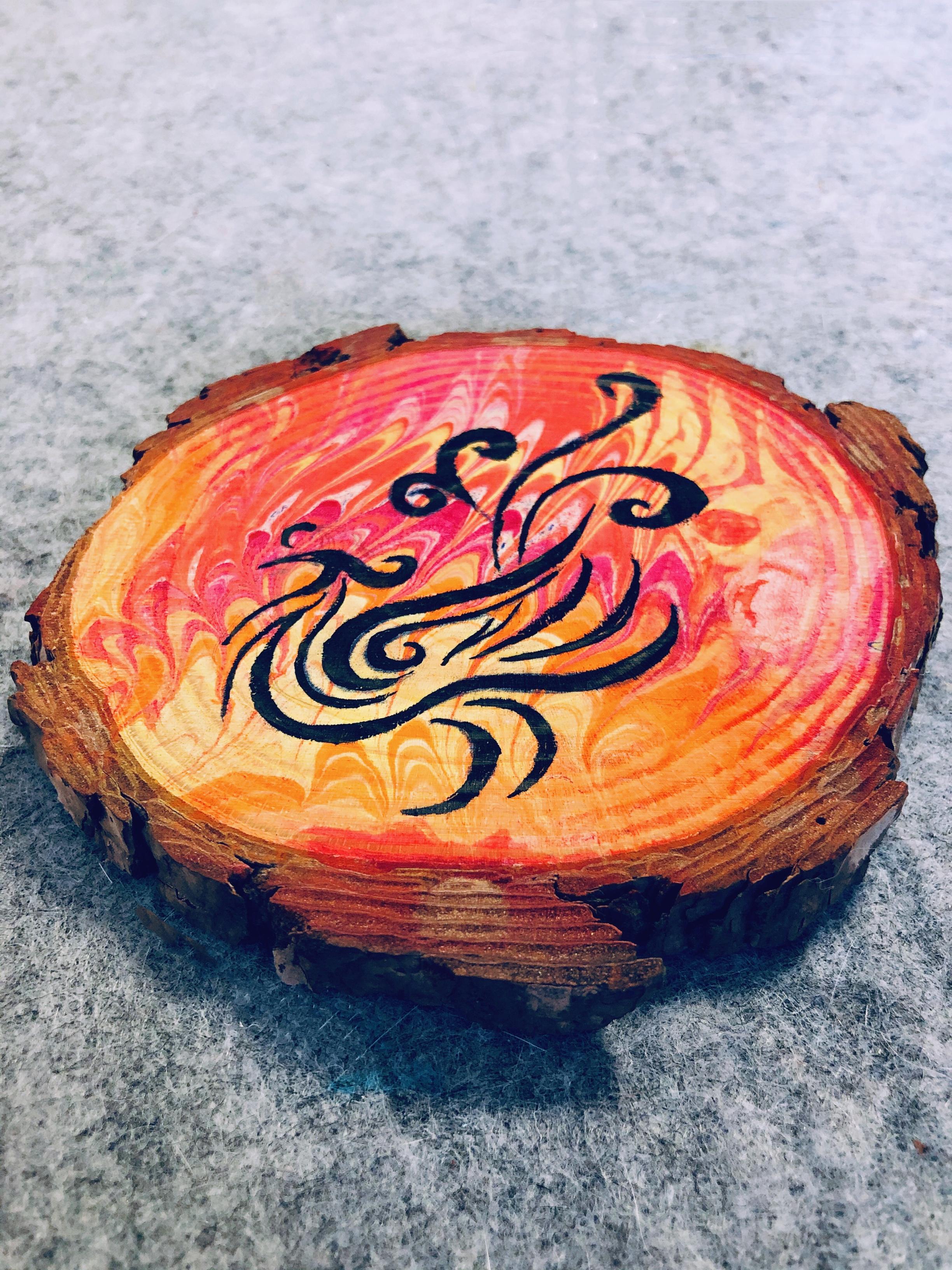原创水纹画作品【凤凰】,灵感来自古建瓦当。