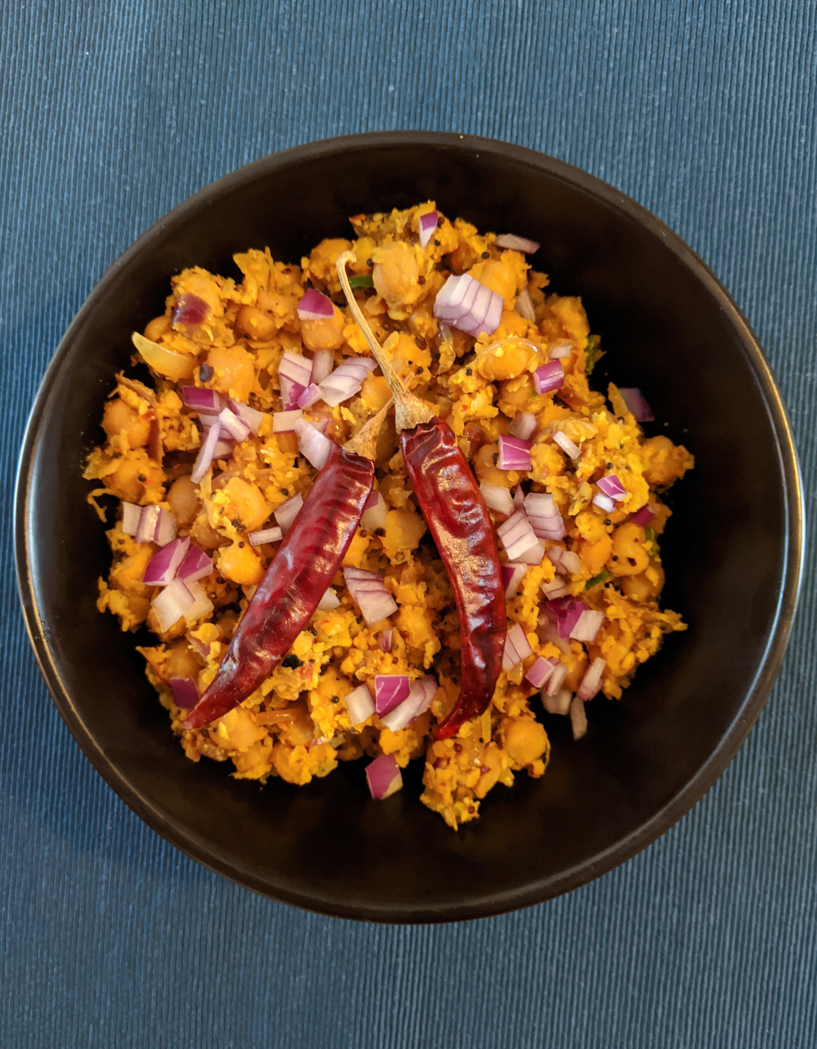 Tempered Chickpeas with Grated Coconut