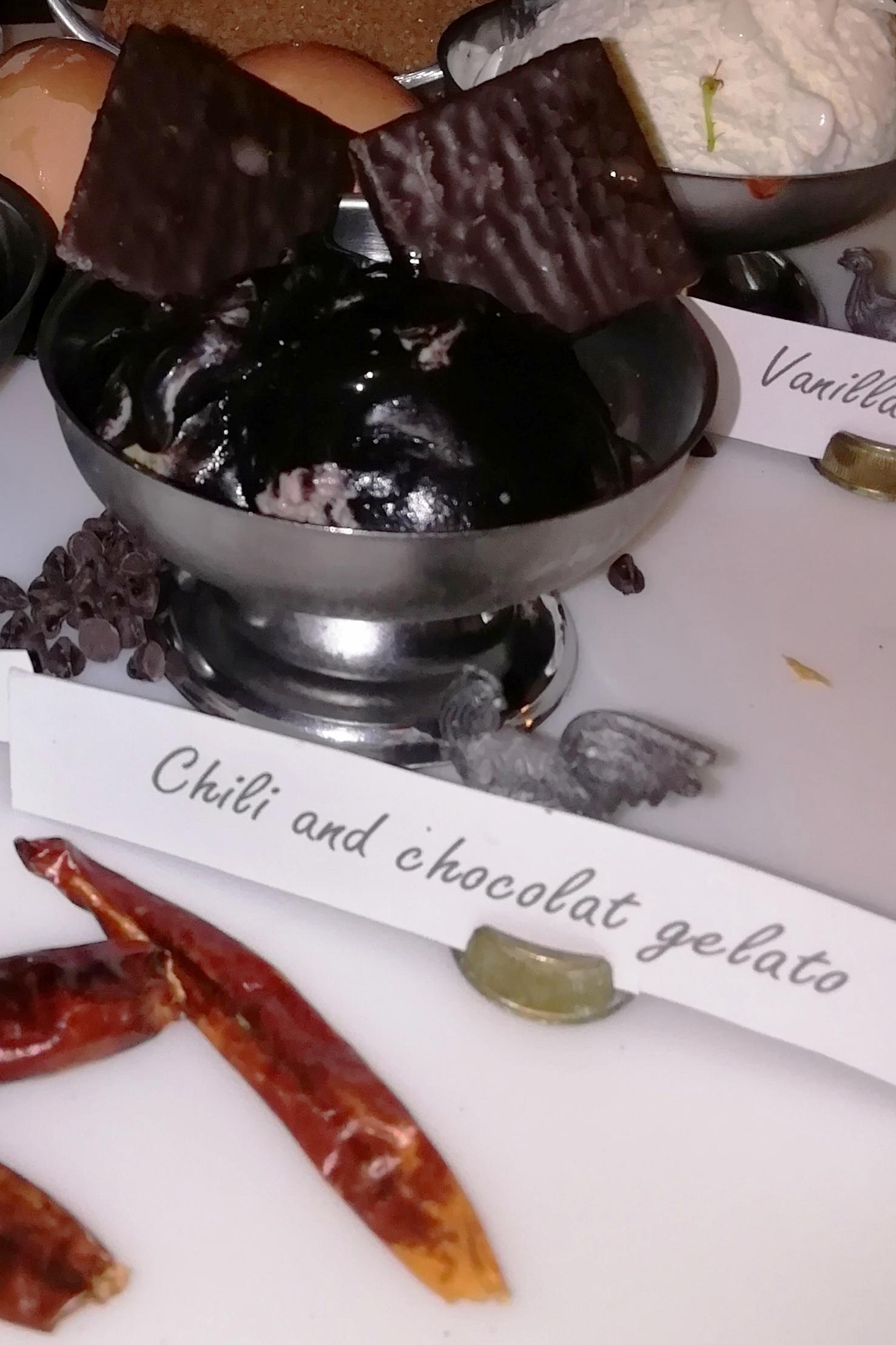 Chili and dark chocolate gelato